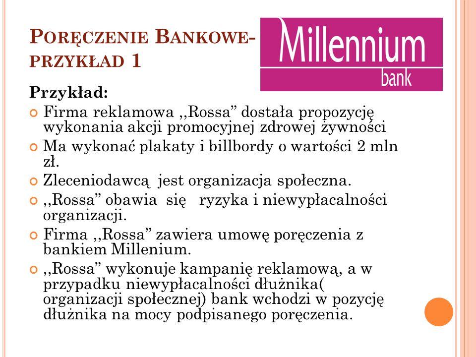 """P ORĘCZENIE B ANKOWE - PRZYKŁAD 1 Przykład: Firma reklamowa,,Rossa"""" dostała propozycję wykonania akcji promocyjnej zdrowej żywności Ma wykonać plakaty"""