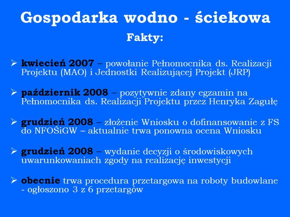 Gospodarka wodno - ściekowa Fakty:  kwiecień 2007 – powołanie Pełnomocnika ds.