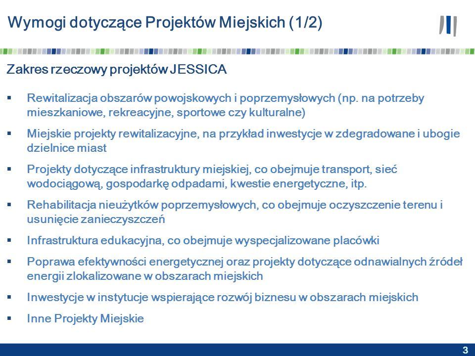 3 Wymogi dotyczące Projektów Miejskich (1/2) Zakres rzeczowy projektów JESSICA  Rewitalizacja obszarów powojskowych i poprzemysłowych (np.
