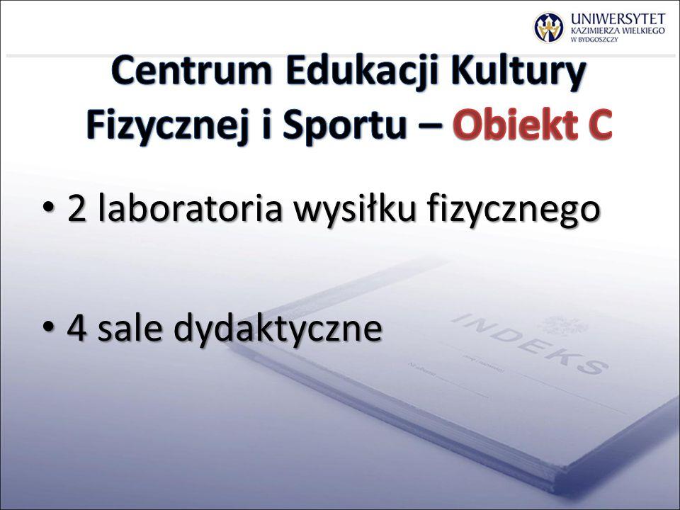 2 laboratoria wysiłku fizycznego 2 laboratoria wysiłku fizycznego 4 sale dydaktyczne 4 sale dydaktyczne