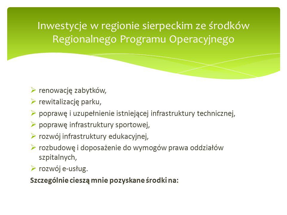 Inwestycje w regionie sierpeckim ze środków Regionalnego Programu Operacyjnego  renowację zabytków,  rewitalizację parku,  poprawę i uzupełnienie istniejącej infrastruktury technicznej,  poprawę infrastruktury sportowej,  rozwój infrastruktury edukacyjnej,  rozbudowę i doposażenie do wymogów prawa oddziałów szpitalnych,  rozwój e-usług.