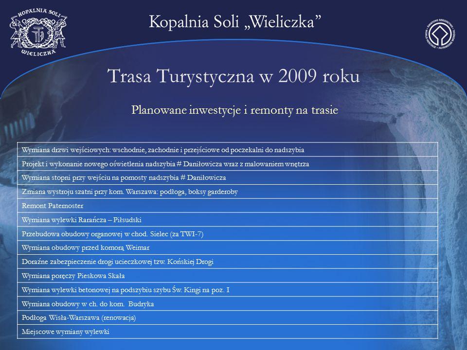 Trasa Turystyczna w 2009 roku Planowane inwestycje i remonty na trasie Wymiana drzwi wejściowych: wschodnie, zachodnie i przejściowe od poczekalni do