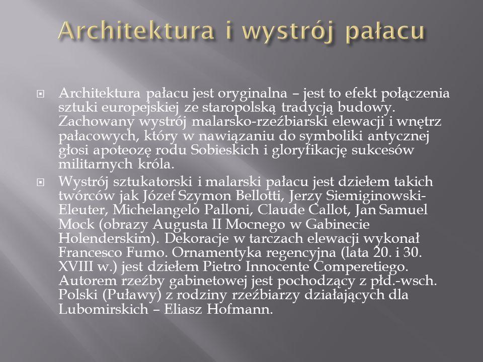  Architektura pałacu jest oryginalna – jest to efekt połączenia sztuki europejskiej ze staropolską tradycją budowy.
