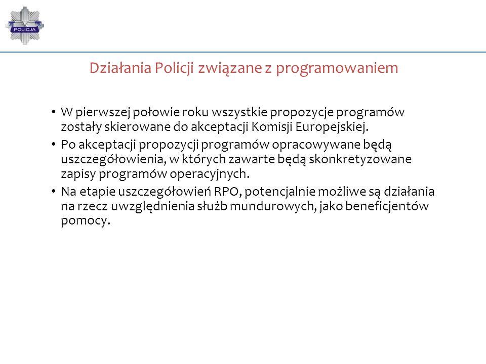 Działania Policji związane z programowaniem W pierwszej połowie roku wszystkie propozycje programów zostały skierowane do akceptacji Komisji Europejsk