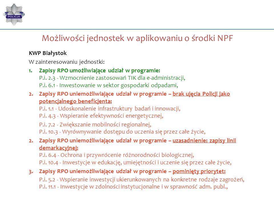 Możliwości jednostek w aplikowaniu o środki NPF KWP Białystok W zainteresowaniu jednostki: 1.Zapisy RPO umożliwiające udział w programie: P.i. 2.3 - W