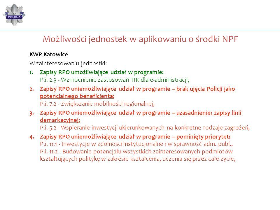 Możliwości jednostek w aplikowaniu o środki NPF KWP Katowice W zainteresowaniu jednostki: 1.Zapisy RPO umożliwiające udział w programie: P.i. 2.3 - Wz