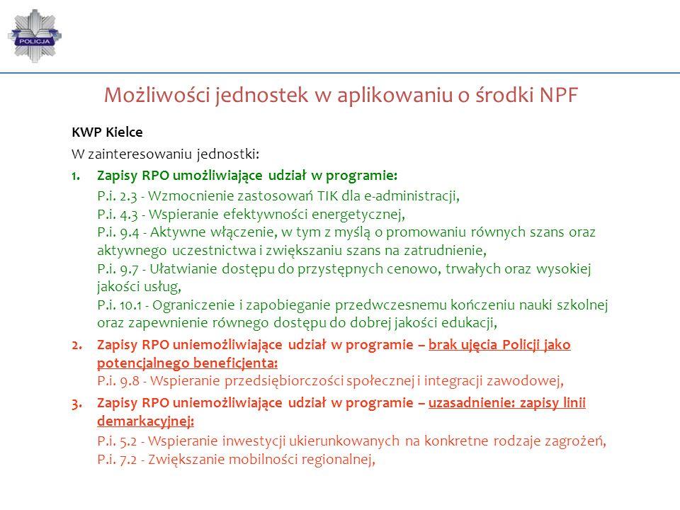 Możliwości jednostek w aplikowaniu o środki NPF KWP Kielce W zainteresowaniu jednostki: 1.Zapisy RPO umożliwiające udział w programie: P.i. 2.3 - Wzmo