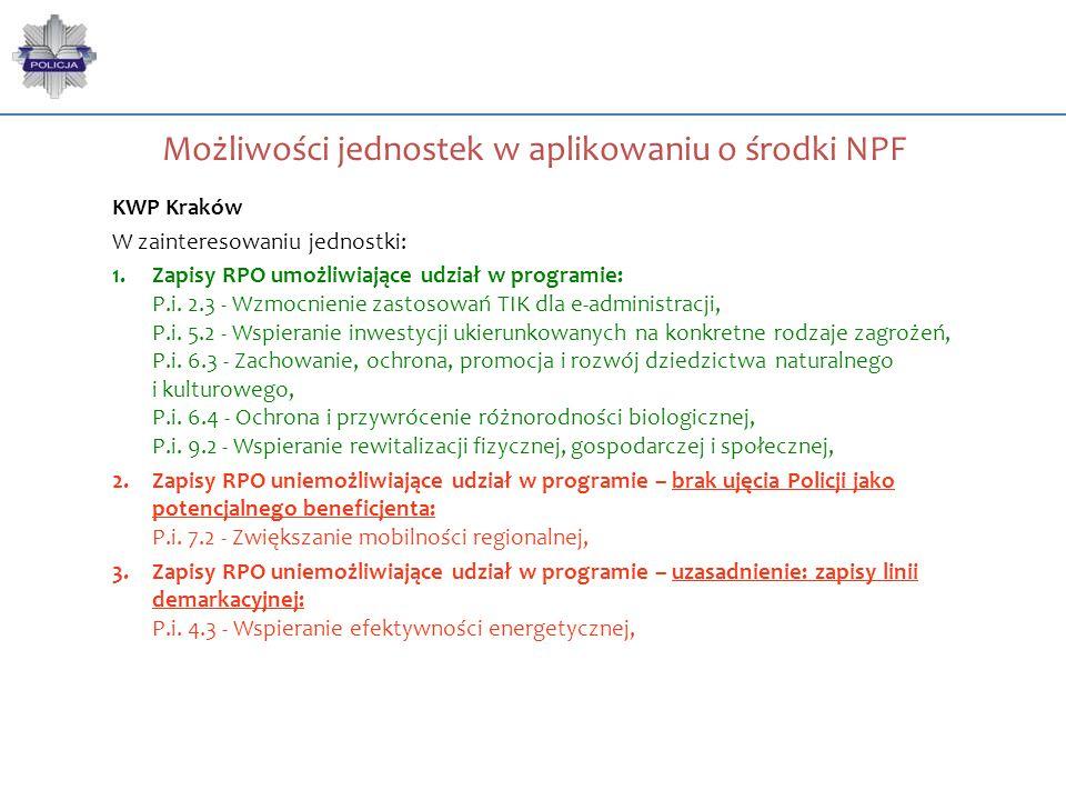 Możliwości jednostek w aplikowaniu o środki NPF KWP Kraków W zainteresowaniu jednostki: 1.Zapisy RPO umożliwiające udział w programie: P.i. 2.3 - Wzmo