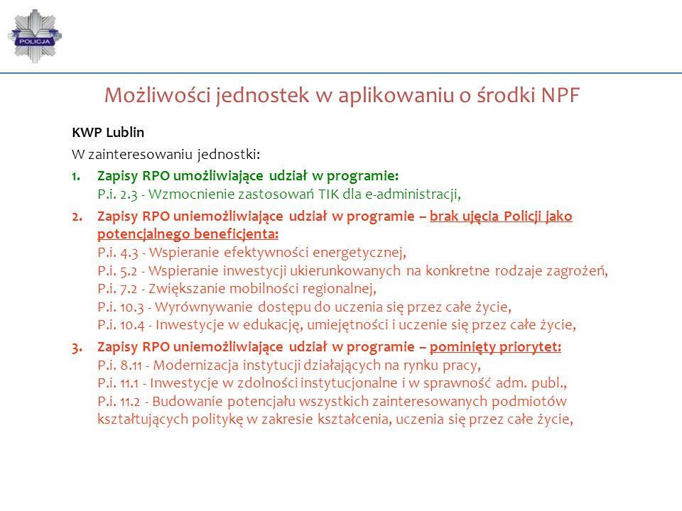 Możliwości jednostek w aplikowaniu o środki NPF KWP Lublin W zainteresowaniu jednostki: 1.Zapisy RPO umożliwiające udział w programie: P.i. 2.3 - Wzmo
