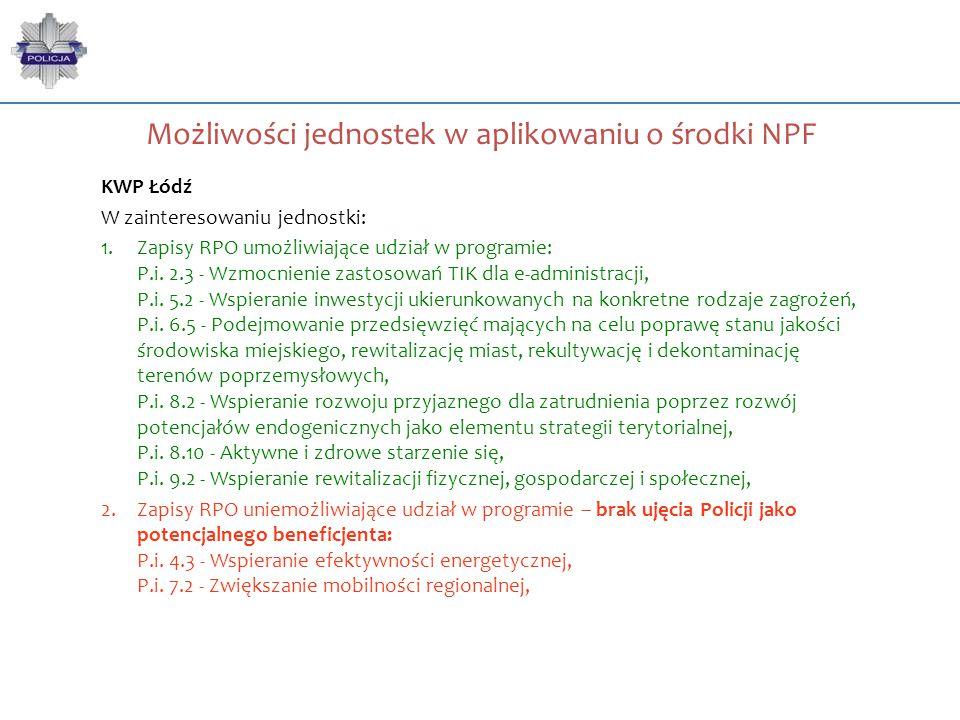 Możliwości jednostek w aplikowaniu o środki NPF KWP Łódź W zainteresowaniu jednostki: 1.Zapisy RPO umożliwiające udział w programie: P.i. 2.3 - Wzmocn