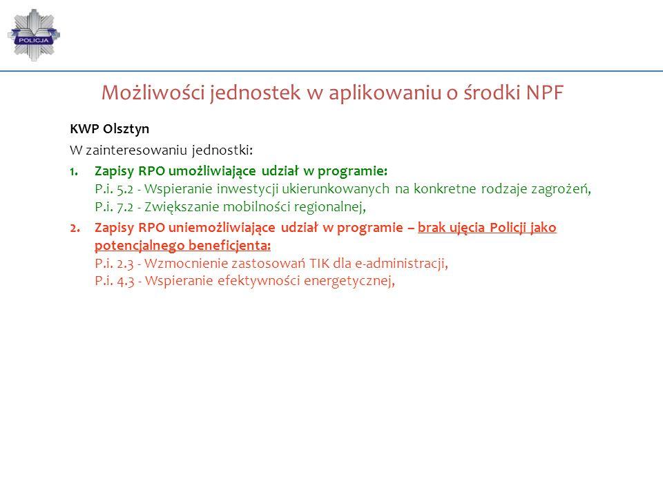 Możliwości jednostek w aplikowaniu o środki NPF KWP Olsztyn W zainteresowaniu jednostki: 1.Zapisy RPO umożliwiające udział w programie: P.i. 5.2 - Wsp