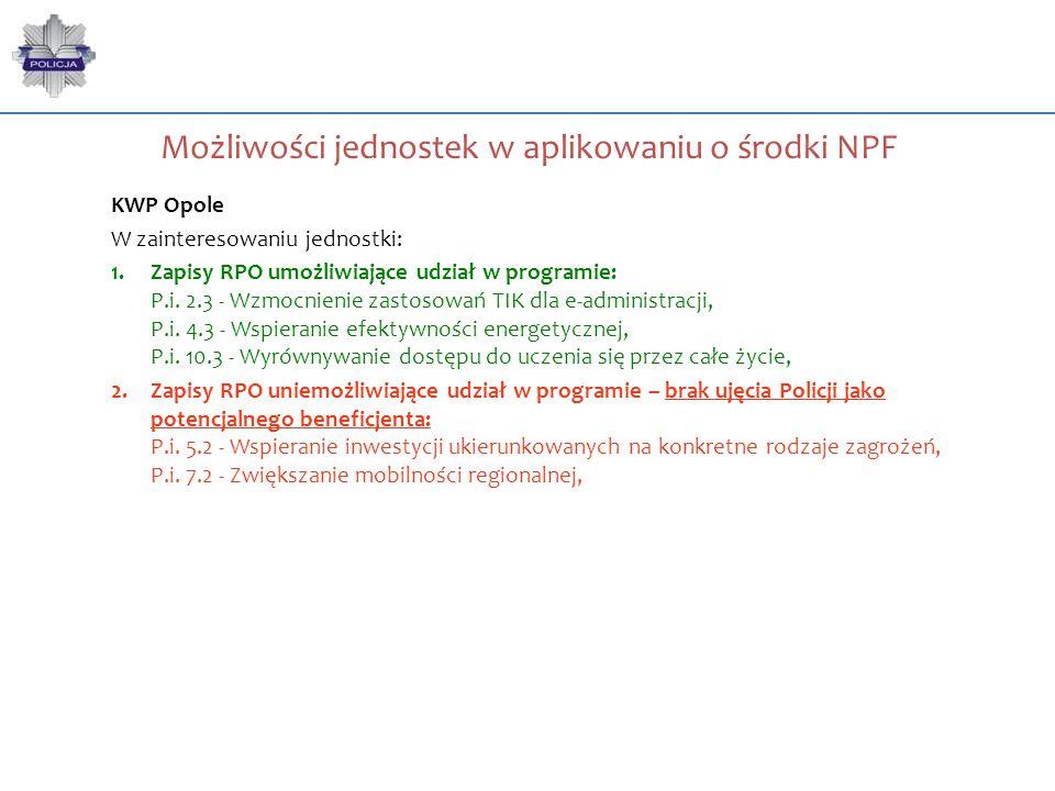 Możliwości jednostek w aplikowaniu o środki NPF KWP Opole W zainteresowaniu jednostki: 1.Zapisy RPO umożliwiające udział w programie: P.i. 2.3 - Wzmoc