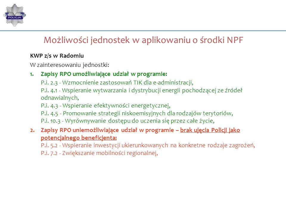 Możliwości jednostek w aplikowaniu o środki NPF KWP z/s w Radomiu W zainteresowaniu jednostki: 1.Zapisy RPO umożliwiające udział w programie: P.i. 2.3