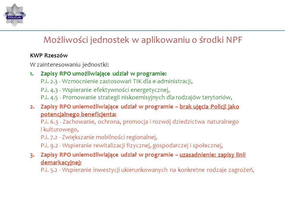 Możliwości jednostek w aplikowaniu o środki NPF KWP Rzeszów W zainteresowaniu jednostki: 1.Zapisy RPO umożliwiające udział w programie: P.i. 2.3 - Wzm