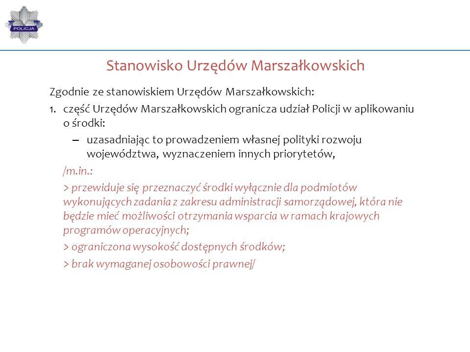 Stanowisko Urzędów Marszałkowskich Zgodnie ze stanowiskiem Urzędów Marszałkowskich: 1.część Urzędów Marszałkowskich ogranicza udział Policji w aplikow
