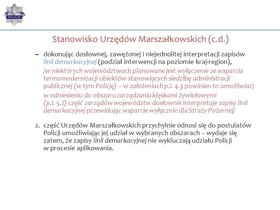 Stanowisko Urzędów Marszałkowskich (c.d.) – dokonując dosłownej, zawężonej i niejednolitej interpretacji zapisów linii demarkacyjnej (podział interwen