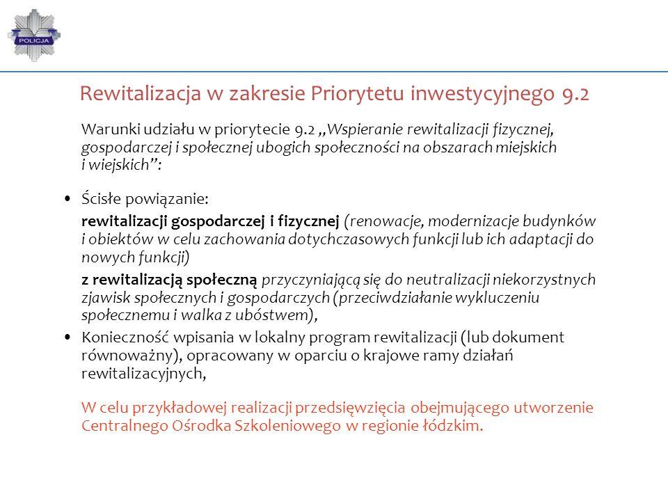 """Rewitalizacja w zakresie Priorytetu inwestycyjnego 9.2 Warunki udziału w priorytecie 9.2 """"Wspieranie rewitalizacji fizycznej, gospodarczej i społeczne"""