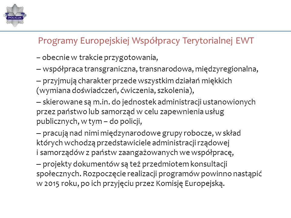 Programy Europejskiej Współpracy Terytorialnej EWT – obecnie w trakcie przygotowania, – współpraca transgraniczna, transnarodowa, międzyregionalna, –
