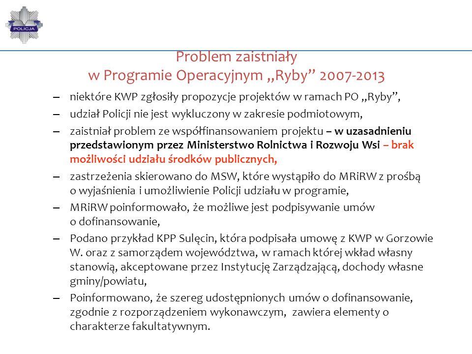 """Problem zaistniały w Programie Operacyjnym """"Ryby"""" 2007-2013 – niektóre KWP zgłosiły propozycje projektów w ramach PO """"Ryby"""", – udział Policji nie jest"""