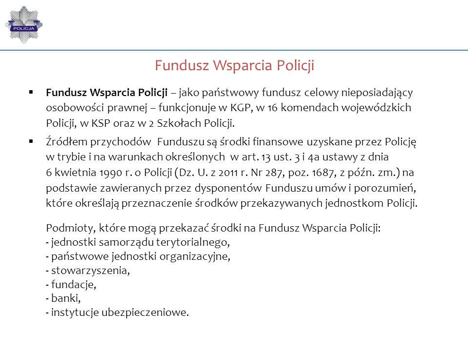  Fundusz Wsparcia Policji – jako państwowy fundusz celowy nieposiadający osobowości prawnej – funkcjonuje w KGP, w 16 komendach wojewódzkich Policji,