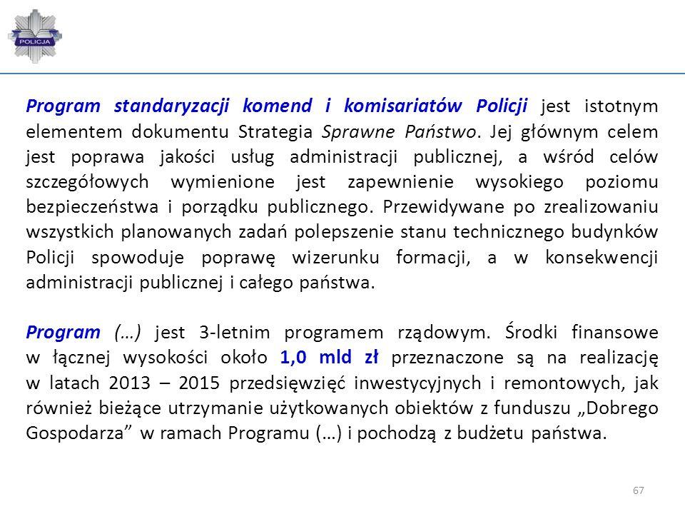 67 Program standaryzacji komend i komisariatów Policji jest istotnym elementem dokumentu Strategia Sprawne Państwo. Jej głównym celem jest poprawa jak