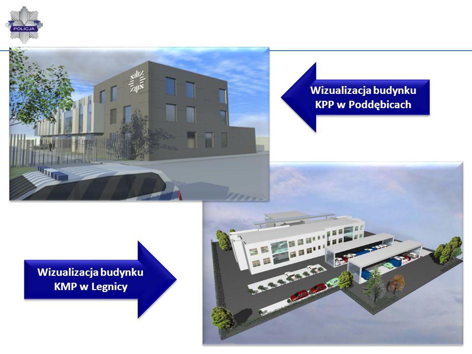 Wizualizacja budynku KPP w Poddębicach Wizualizacja budynku KMP w Legnicy