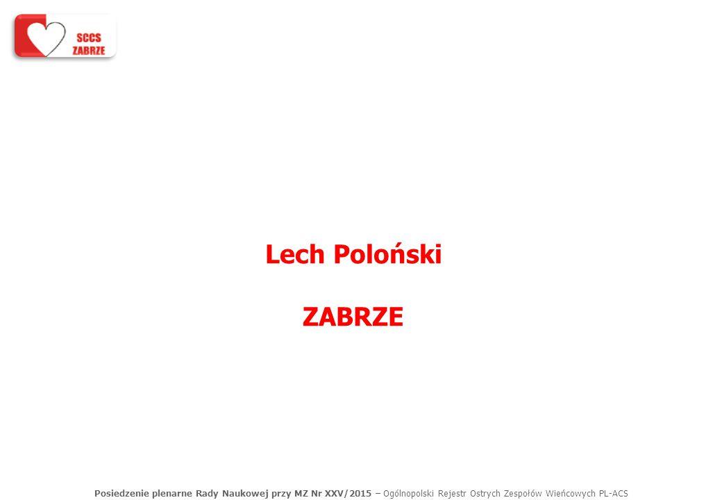 Posiedzenie plenarne Rady Naukowej przy MZ Nr XXV/2015 – Ogólnopolski Rejestr Ostrych Zespołów Wieńcowych PL-ACS Lech Poloński ZABRZE