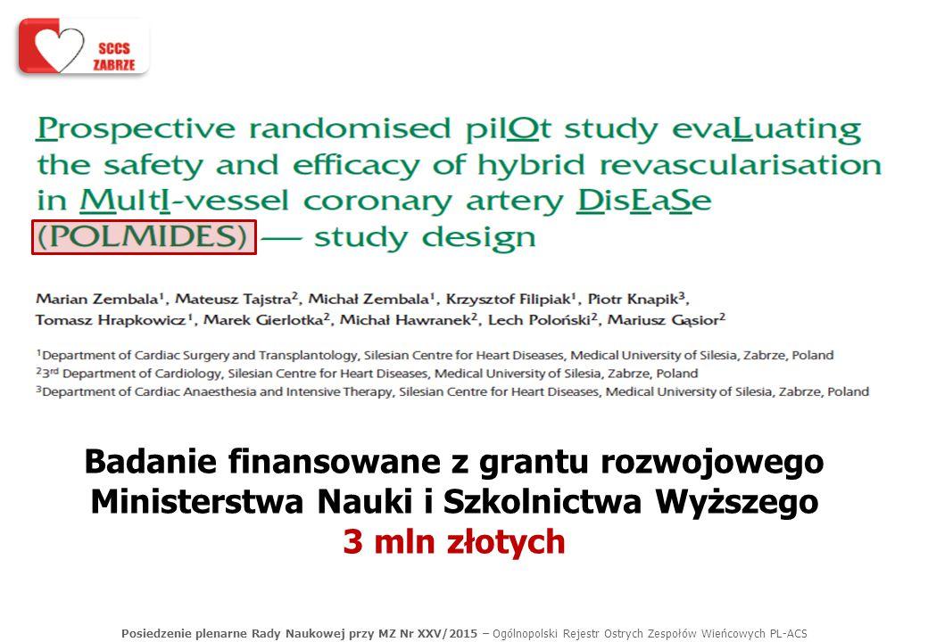 Posiedzenie plenarne Rady Naukowej przy MZ Nr XXV/2015 – Ogólnopolski Rejestr Ostrych Zespołów Wieńcowych PL-ACS Badanie finansowane z grantu rozwojow