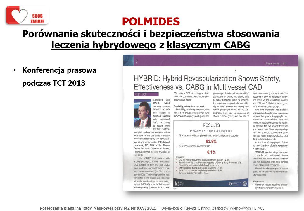 Posiedzenie plenarne Rady Naukowej przy MZ Nr XXV/2015 – Ogólnopolski Rejestr Ostrych Zespołów Wieńcowych PL-ACS POLMIDES Porównanie skuteczności i be