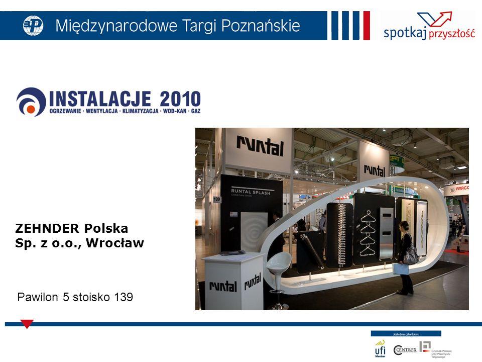 ZEHNDER Polska Sp. z o.o., Wrocław Pawilon 5 stoisko 139