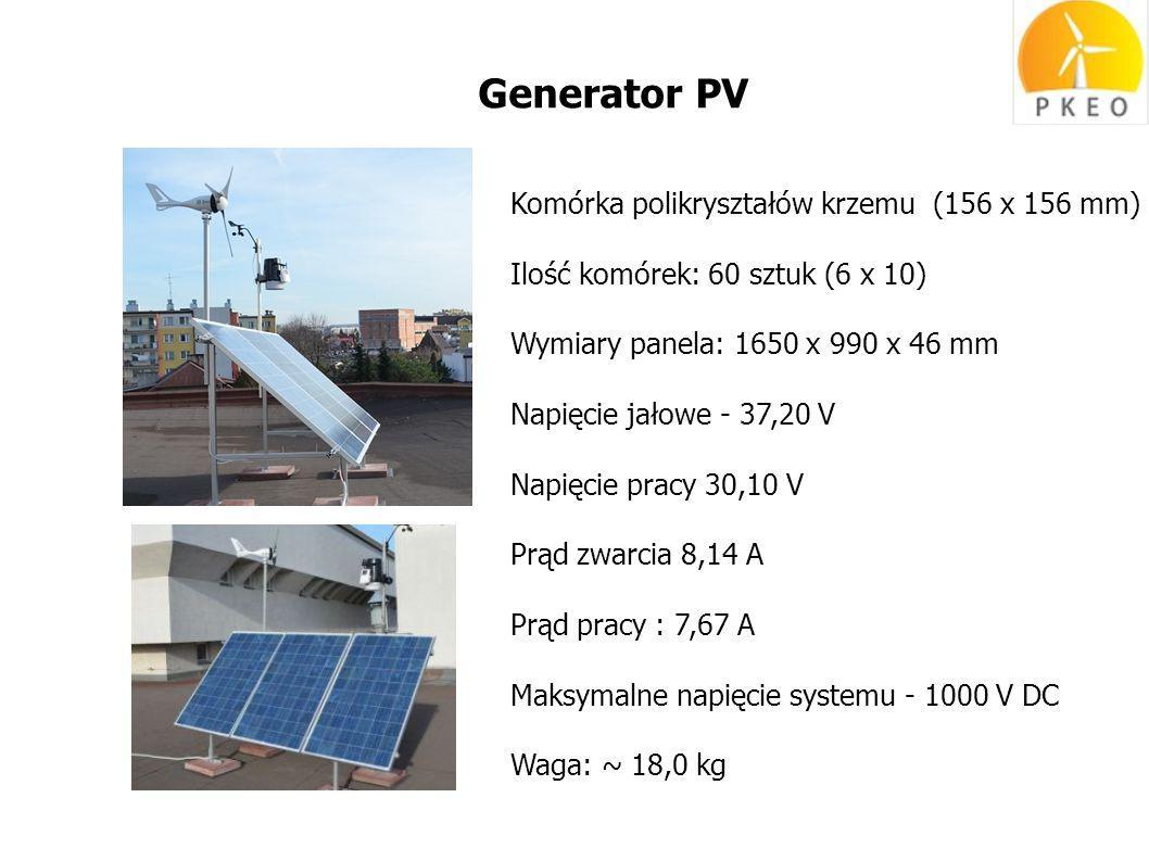 Generator PV Komórka polikryształów krzemu (156 x 156 mm) Ilość komórek: 60 sztuk (6 x 10) Wymiary panela: 1650 x 990 x 46 mm Napięcie jałowe - 37,20 V Napięcie pracy 30,10 V Prąd zwarcia 8,14 A Prąd pracy : 7,67 A Maksymalne napięcie systemu - 1000 V DC Waga: ~ 18,0 kg