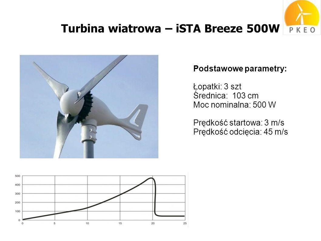 Turbina wiatrowa – iSTA Breeze 500W Podstawowe parametry: Łopatki: 3 szt Średnica: 103 cm Moc nominalna: 500 W Prędkość startowa: 3 m/s Prędkość odcięcia: 45 m/s