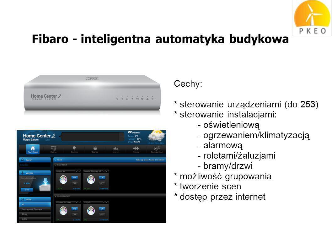Fibaro - inteligentna automatyka budykowa Cechy: * sterowanie urządzeniami (do 253) * sterowanie instalacjami: - oświetleniową - ogrzewaniem/klimatyzacją - alarmową - roletami/żaluzjami - bramy/drzwi * możliwość grupowania * tworzenie scen * dostęp przez internet