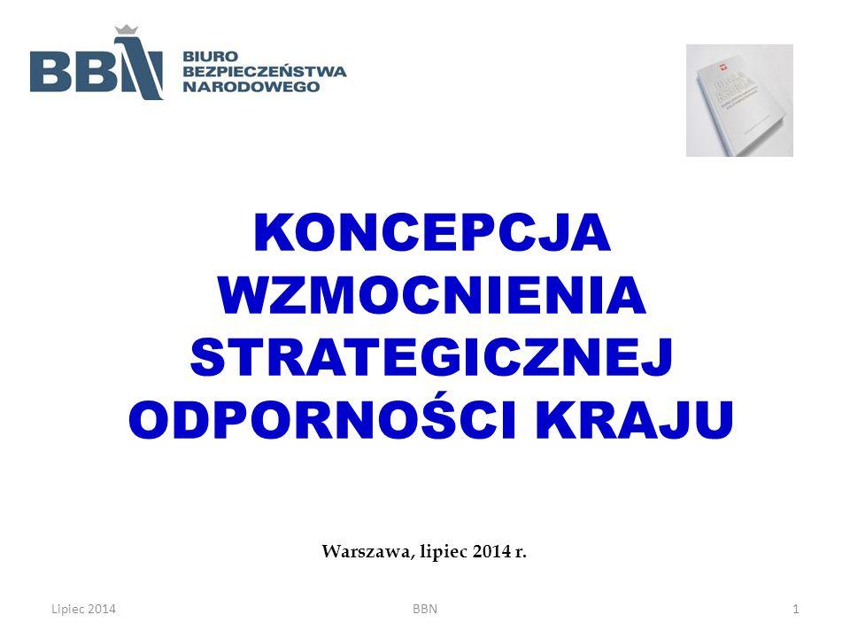 KONCEPCJA WZMOCNIENIA STRATEGICZNEJ ODPORNOŚCI KRAJU Warszawa, lipiec 2014 r. Lipiec 2014BBN1