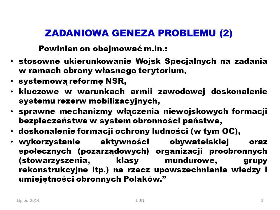 Lipiec 2014BBN3 ZADANIOWA GENEZA PROBLEMU (2) Powinien on obejmować m.in.: stosowne ukierunkowanie Wojsk Specjalnych na zadania w ramach obrony własne
