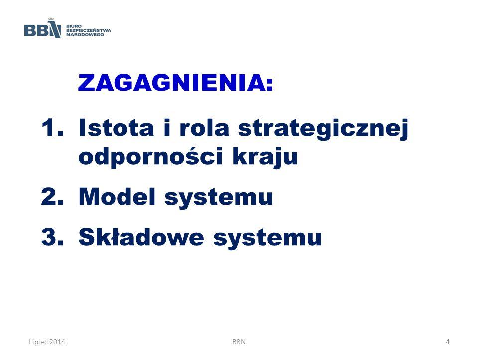 ZAGAGNIENIA: 1.Istota i rola strategicznej odporności kraju 2.Model systemu 3.Składowe systemu Lipiec 2014BBN4