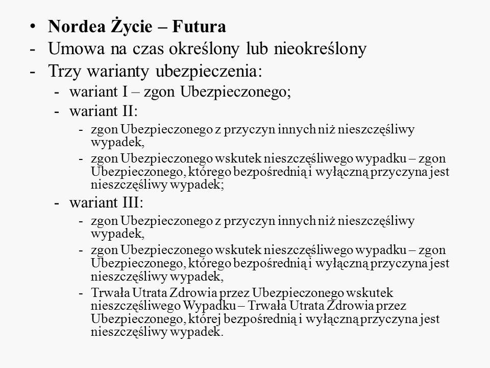 Nordea Życie – Futura -Umowa na czas określony lub nieokreślony -Trzy warianty ubezpieczenia: -wariant I – zgon Ubezpieczonego; -wariant II: -zgon Ube