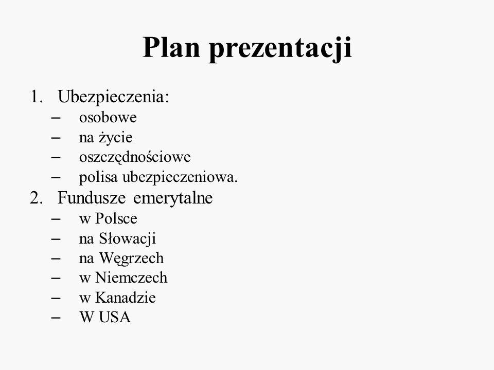 Plan prezentacji 1.Ubezpieczenia: – osobowe – na życie – oszczędnościowe – polisa ubezpieczeniowa. 2.Fundusze emerytalne – w Polsce – na Słowacji – na