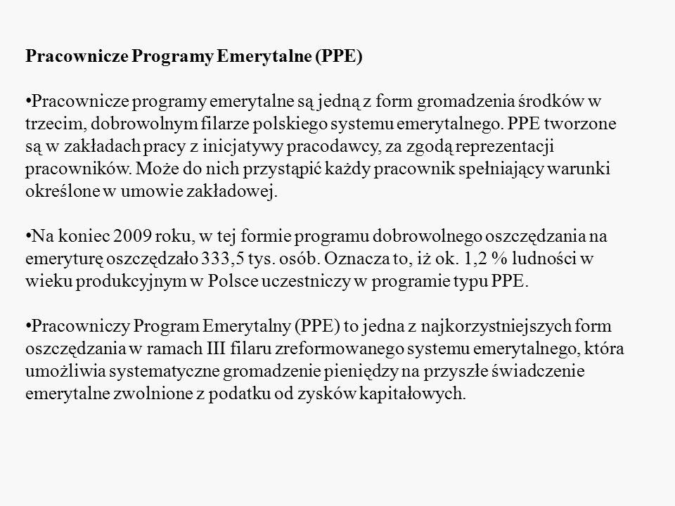 Pracownicze Programy Emerytalne (PPE) Pracownicze programy emerytalne są jedną z form gromadzenia środków w trzecim, dobrowolnym filarze polskiego sys