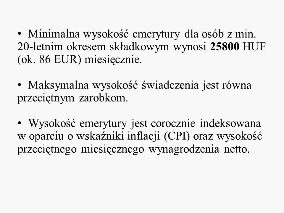 Minimalna wysokość emerytury dla osób z min. 20-letnim okresem składkowym wynosi 25800 HUF (ok. 86 EUR) miesięcznie. Maksymalna wysokość świadczenia j