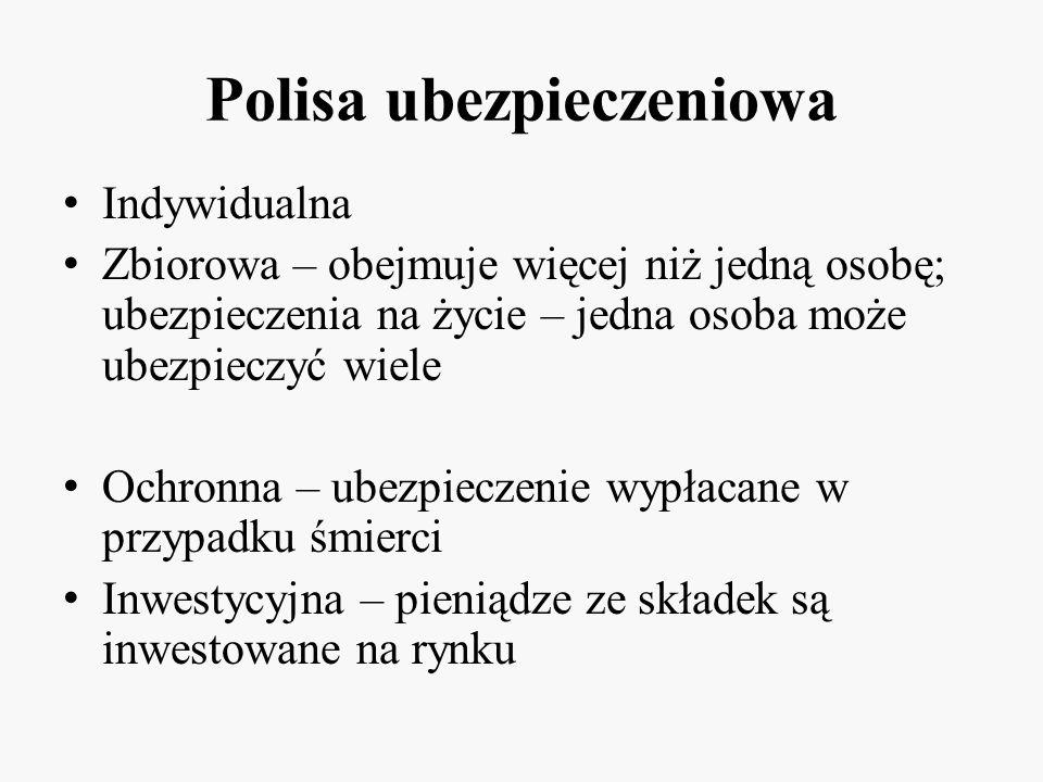 Przykłady Polisa oszczędnościowa – Bank Millenium -Ubezpieczenie na życie i dożycie -Suma ubezpieczenia: składka + gwarantowana stopa zwrotu z polisy -Ubezpieczenie na 2, 3 lub 5 lat OKRES UBEZPIECZENIA GWARANTOWANA STOPA ZWROTU Z POLISY OSZCĘDNOŚCIOWEJ W OKRESIE UBEZPIECZENIA STOPA WYKUPU 2 lata4,45%2,66% 3 lata 6,90% 2,74% 5 lat 14,53%3,47%