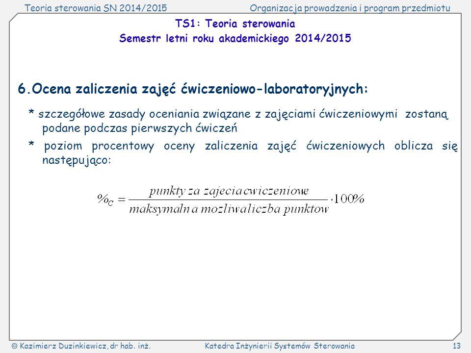 Teoria sterowania SN 2014/2015Organizacja prowadzenia i program przedmiotu  Kazimierz Duzinkiewicz, dr hab. inż.Katedra Inżynierii Systemów Sterowani