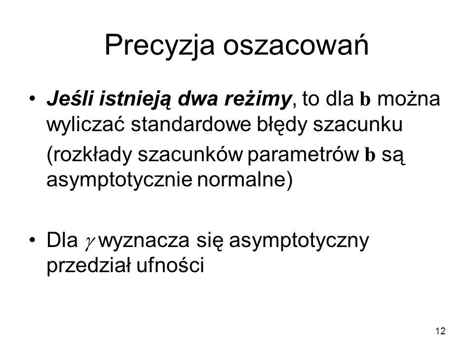 12 Precyzja oszacowań Jeśli istnieją dwa reżimy, to dla b można wyliczać standardowe błędy szacunku (rozkłady szacunków parametrów b są asymptotycznie