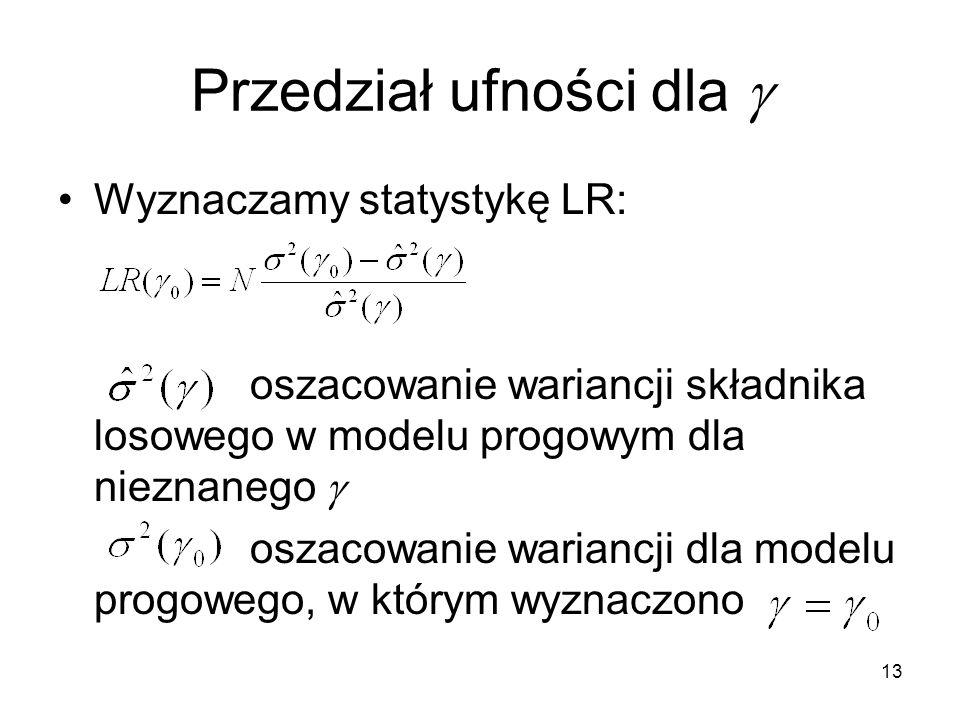 13 Przedział ufności dla  Wyznaczamy statystykę LR: oszacowanie wariancji składnika losowego w modelu progowym dla nieznanego  oszacowanie wariancji