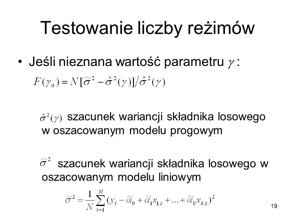 19 Testowanie liczby reżimów Jeśli nieznana wartość parametru  : szacunek wariancji składnika losowego w oszacowanym modelu progowym szacunek wariancji składnika losowego w oszacowanym modelu liniowym