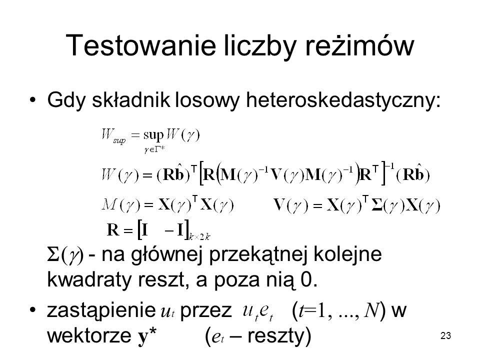 23 Testowanie liczby reżimów Gdy składnik losowy heteroskedastyczny:  - na głównej przekątnej kolejne kwadraty reszt, a poza nią 0. zastąpienie u