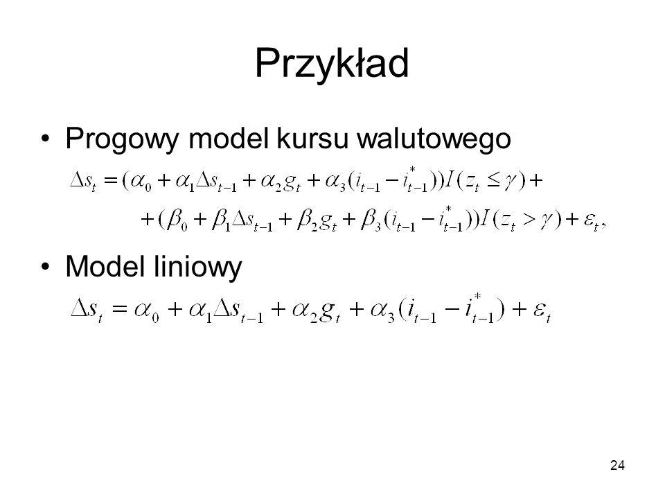 24 Przykład Progowy model kursu walutowego Model liniowy