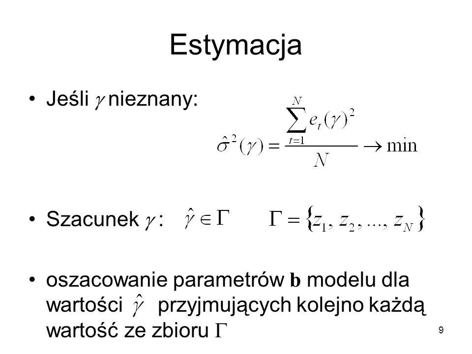 9 Estymacja Jeśli  nieznany: Szacunek  : oszacowanie parametrów b modelu dla wartości przyjmujących kolejno każdą wartość ze zbioru 