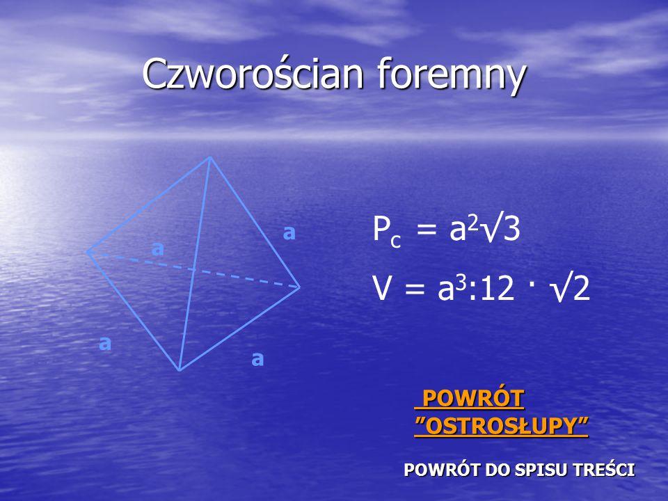 Czworościan foremny a a a a P c = a 2 √3 V = a 3 :12 · √2 POWRÓT DO SPISU TREŚCI POWRÓT DO SPISU TREŚCI POWRÓT OSTROSŁUPY POWRÓT OSTROSŁUPY