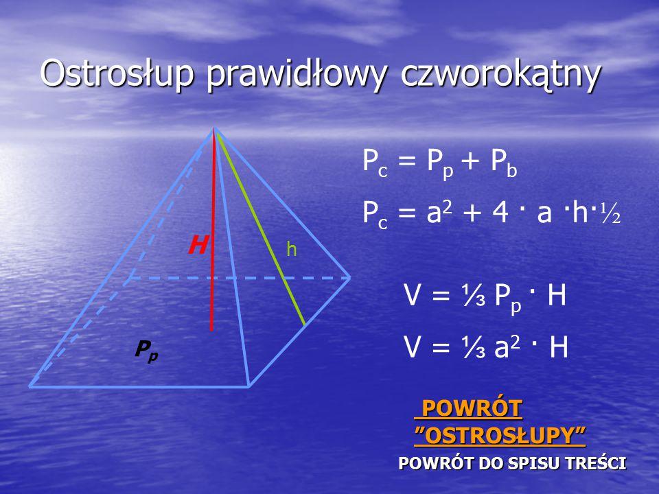Ostrosłup prawidłowy czworokątny PPPP OOOO WWWW RRRR ÓÓÓÓ TTTT D D D D OOOO S S S S PPPP IIII SSSS UUUU T T T T RRRR EEEE ŚŚŚŚ CCCC IIII P c = P p + P b P c = a 2 + 4 · a ·h· ½ PpPp H h V = ⅓ P p · H V = ⅓ a 2 · H P P P P OOOO WWWW RRRR ÓÓÓÓ TTTT OOOO SSSS TTTT RRRR OOOO SSSS ŁŁŁŁ UUUU PPPP YYYY